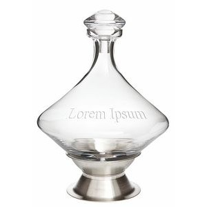Orbital Glass Decanter w/Silver Plated Base